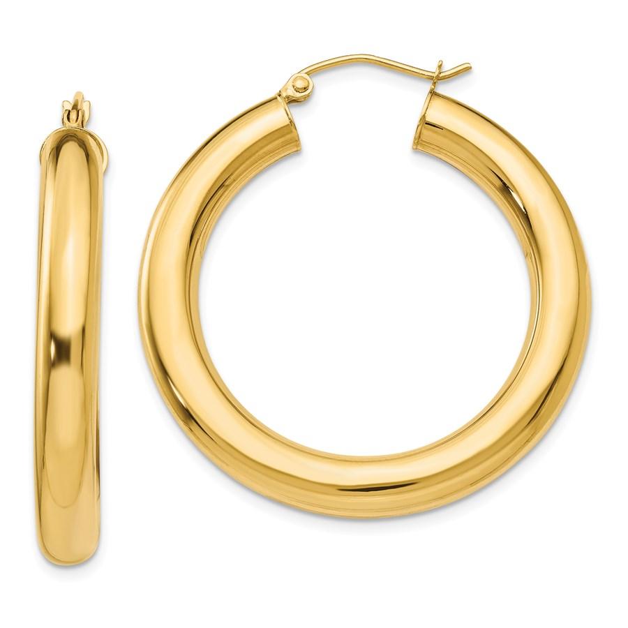 14k Yellow Gold Polished 35 mm Lightweight Hoop Earrings