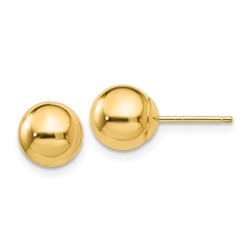 14k Yellow Gold Polished 7 mm Ball Post Earrings