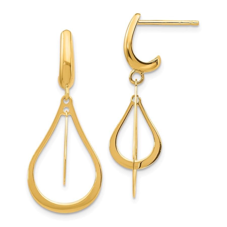 14k Yellow Gold Polished Dangle Earrings