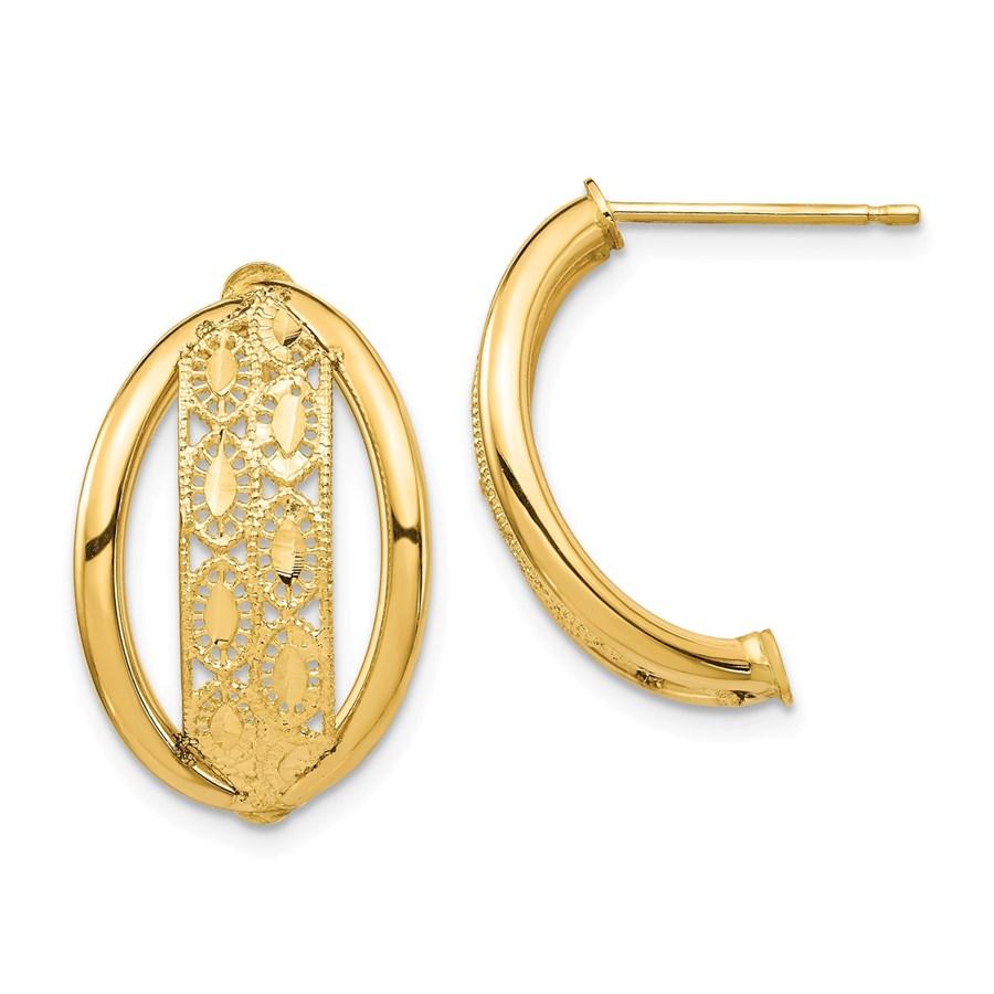 14k Yellow Gold Polished & Diamond-cut Post Dangle Earrings