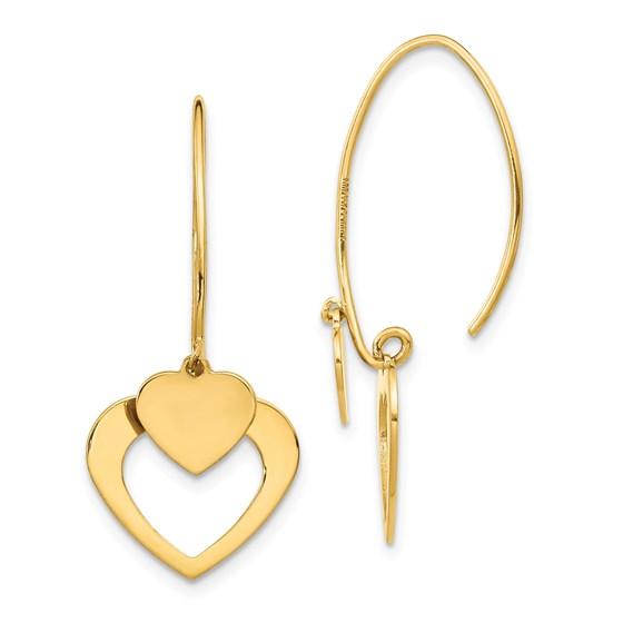 14k Yellow Gold Polished Heart Dangle Earrings