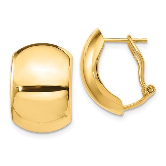 14k Yellow Gold Polished Omega Back Earrings