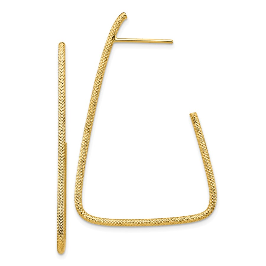14k Yellow Gold Polished & Textured Fancy Post Dangle Earrings