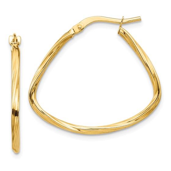 14k Yellow Gold Polished Twisted Fancy Hoop Earrings