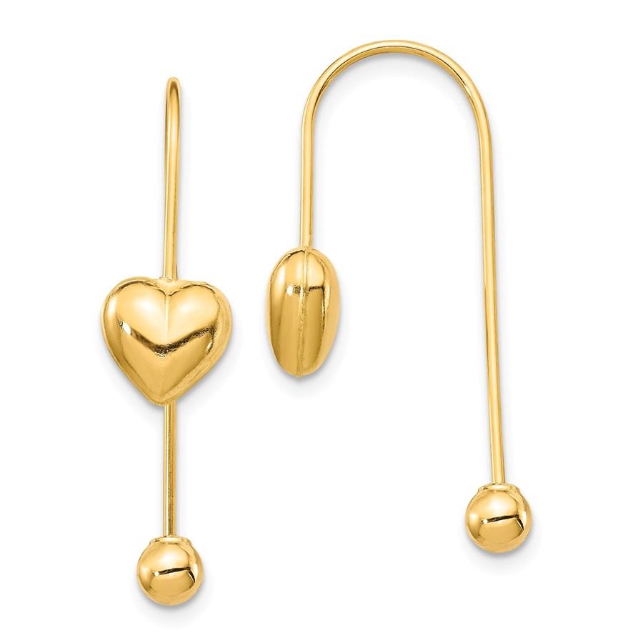 14k Yellow Gold Puffed Heart w/Screw End Threader Earrings