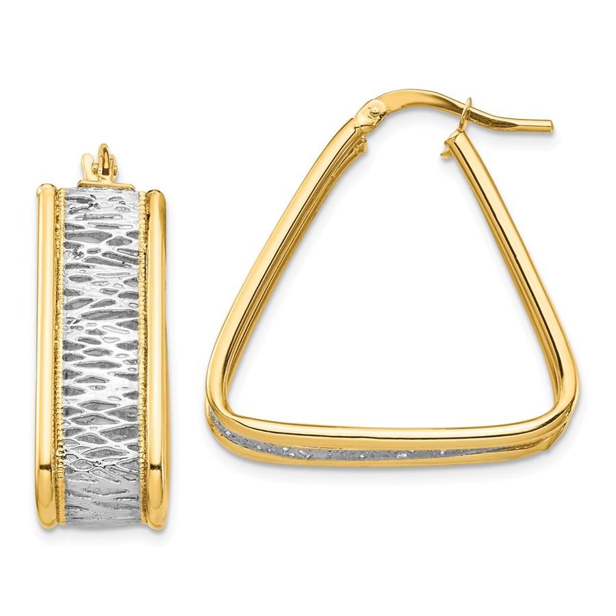 14k Yellow Gold & Rhodium Diamond Cut Triangle Hoop Earrings