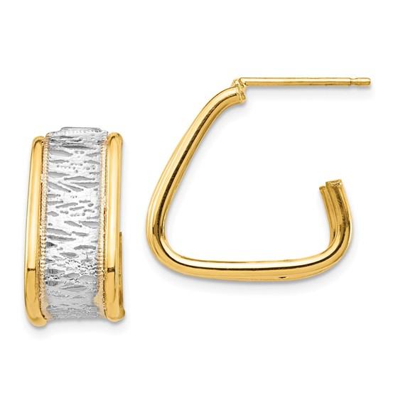 14k Yellow Gold & Rhodium Diamond Cut Triangle Hoop Post Earrings