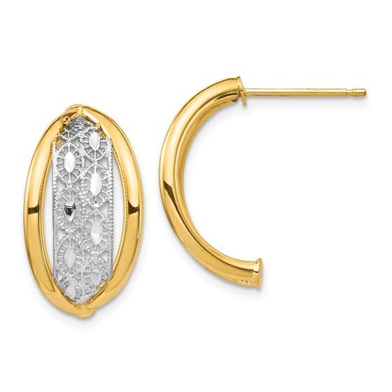 14k Yellow Gold & Rhodium Polished & Diamond Cut Post Earrings