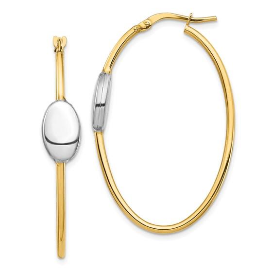 14k Yellow Gold & Rhodium Polished Fancy Hoop Earrings