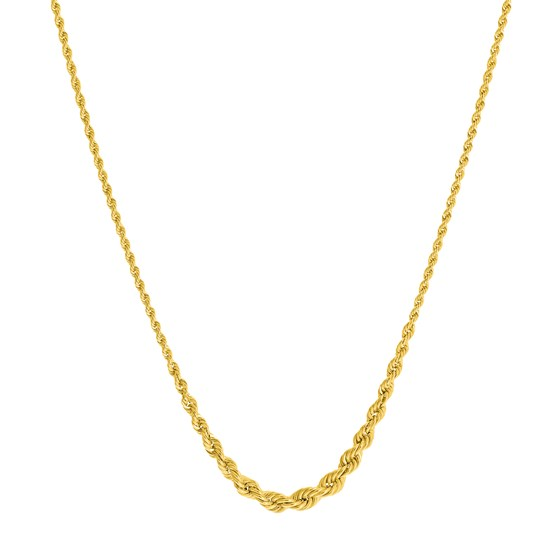 14K Yellow Gold Rope Chain Necklace 2.6mm - 5.85 - 16-18 in.