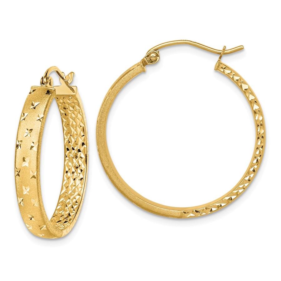 14k Yellow Gold Satin Diamond-cut In/Out Hoop Earrings