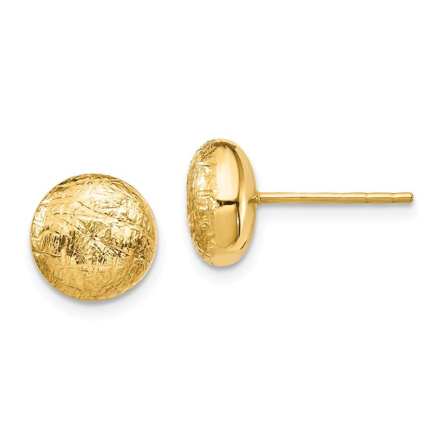 14k Yellow Gold Scratch Finish Hollow Post Earrings