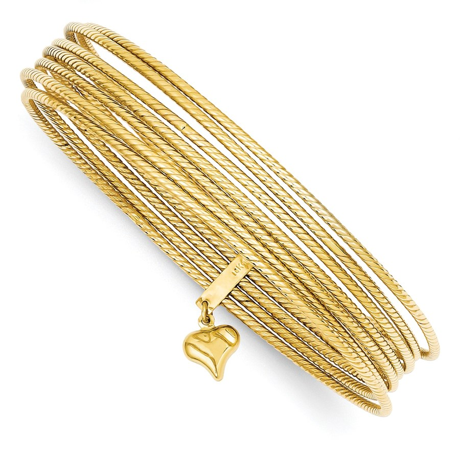 14k Yellow Gold Slip On Seven-Bangle Set