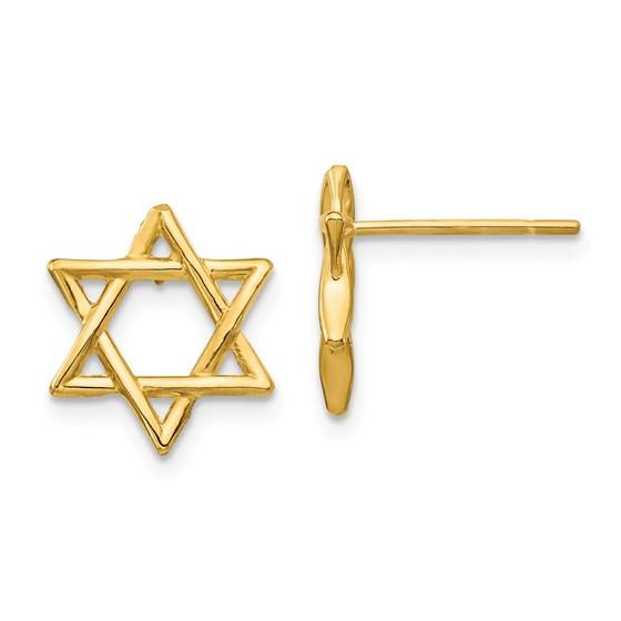 14k Yellow Gold Star of David Earrings