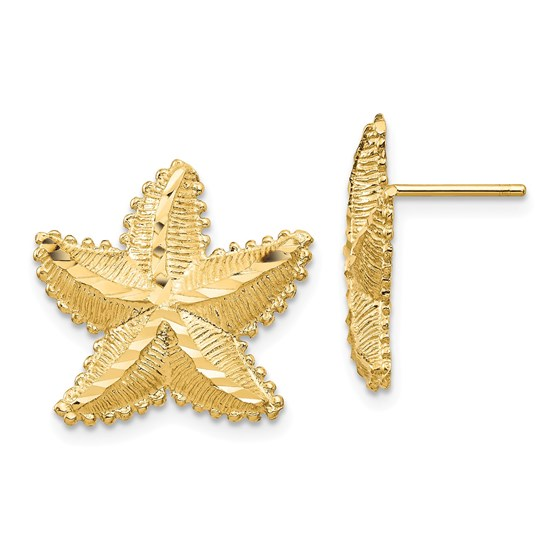 14k Yellow Gold Starfish Post Earrings