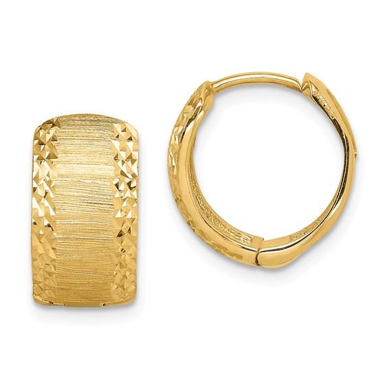 14k Yellow Gold Textured Hinged Hoop Earrings