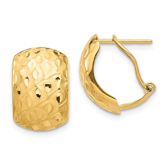 14k Yellow Gold Textured Omega Back Earrings