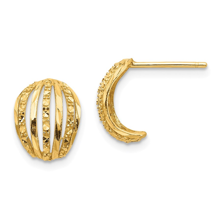 14k Yellow Gold Textured Post Earrings