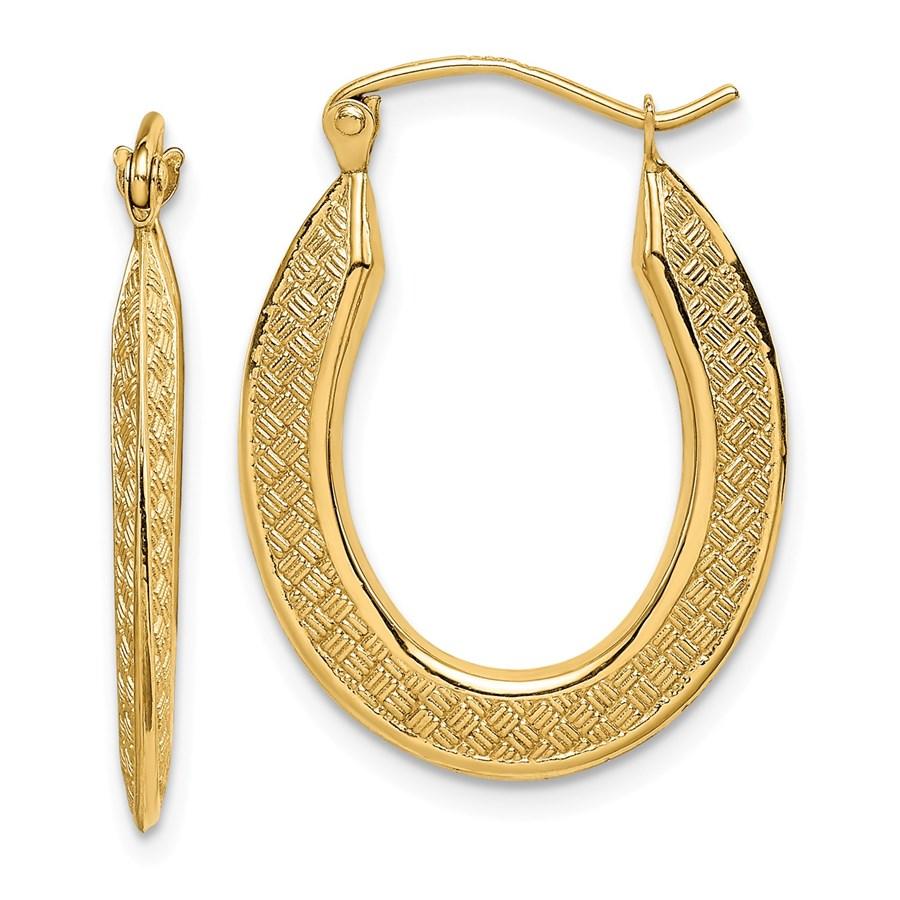 14k Yellow Gold Textured Stamped Hoop Earrings