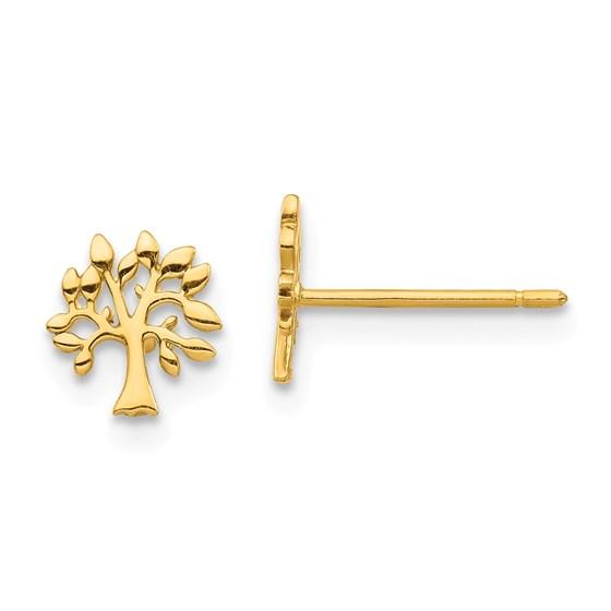 14k Yellow Gold Tree Post Earrings