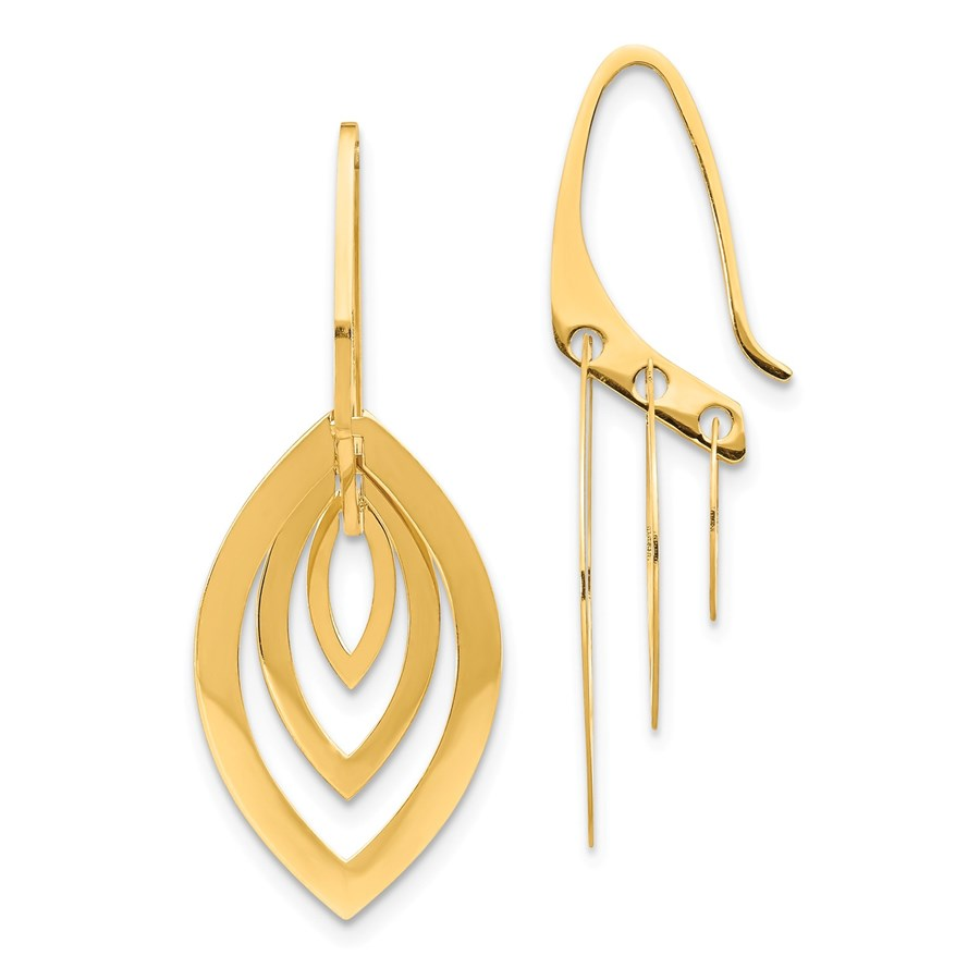 14k Yellow Gold Triple Oval Dangle Earrings