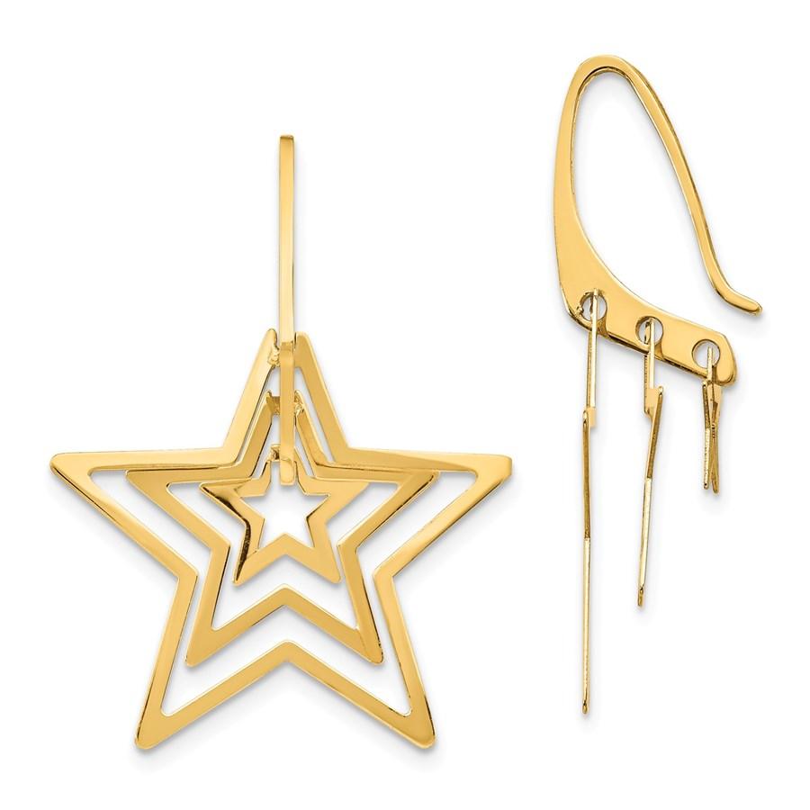 14k Yellow Gold Triple Star Dangle Earrings