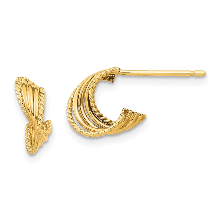 14k Yellow Gold Twisted Post Earrings