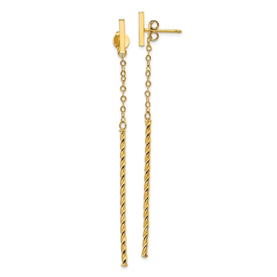 14k Yellow Gold Twisted Stick Dangle Post Earrings