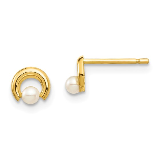 14k Yellow Gold White Button Pearl Circle Post Earrings