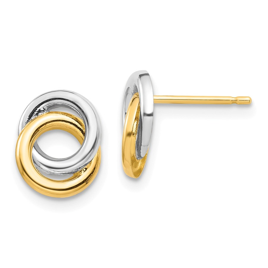 14k Yellow Gold & White Rhodium Circles Post Earrings