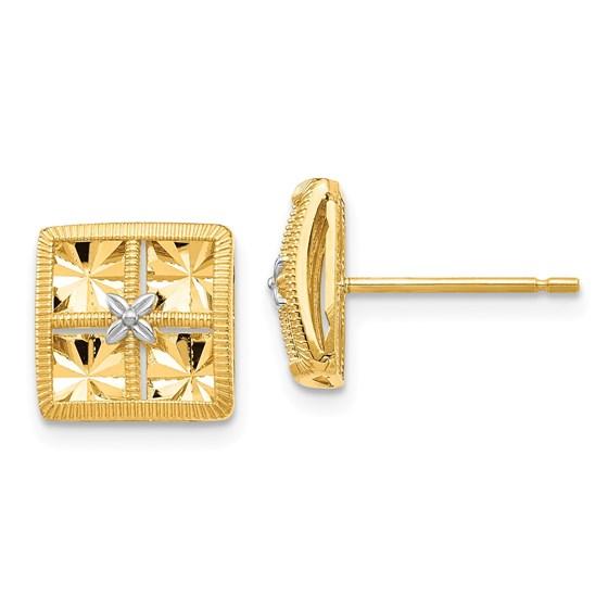 14k Yellow Gold White Rhodium Diamond-Cut Square Earrings