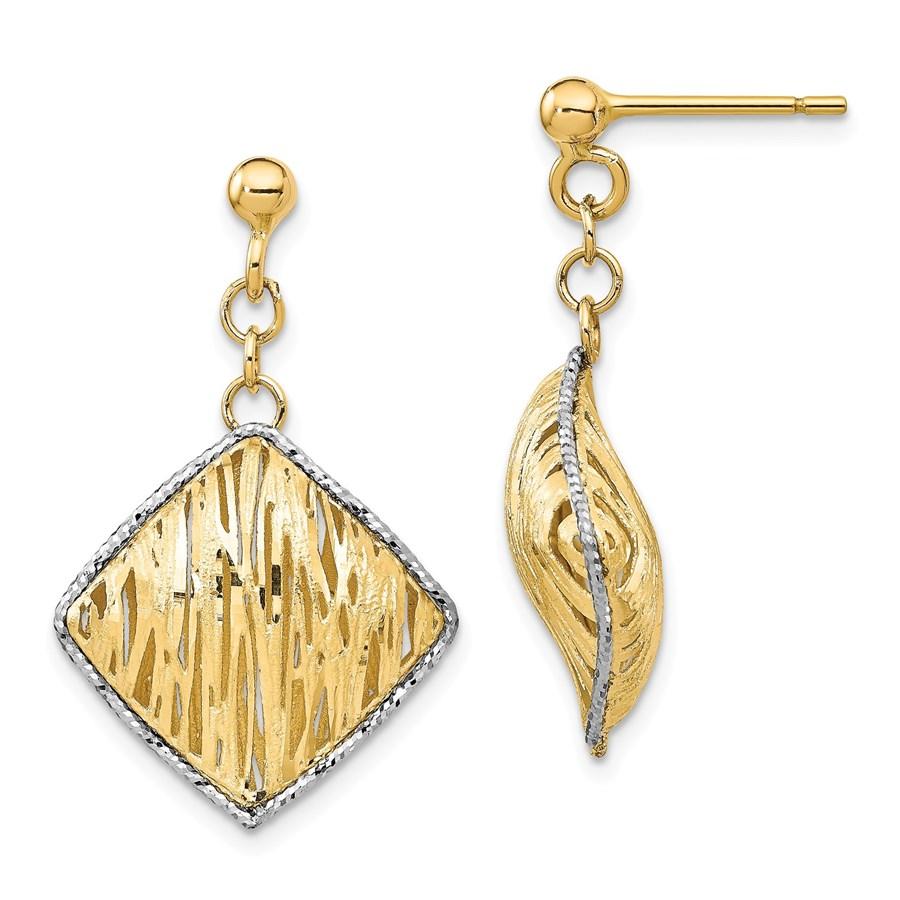 14k Yellow Gold & White Rhodium Hollow Dangle Post Earrings