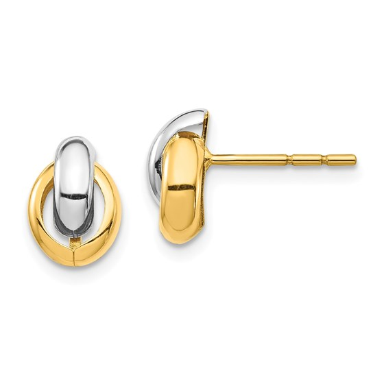 14k Yellow Gold & White Rhodium Oval Post Earrings