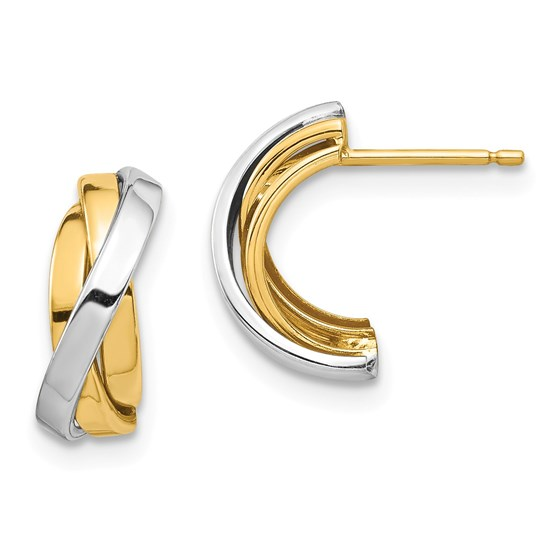 14k Yellow Gold & White Rhodium Triple C-Hoop Post Earrings