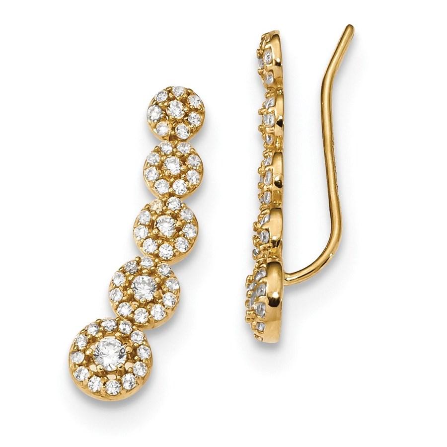 14k Zirconia Circles Polished Ear Climber Earrings
