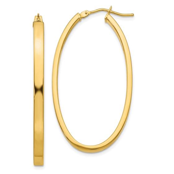 14ky Polished Oval Hoop Earrings