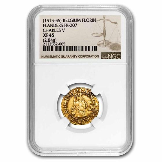 1515-55 Belgium Gold Florin Charles V XF-45 NGC