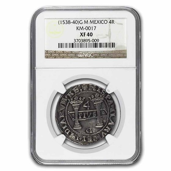 1538-40 G M Mexico Silver 4 Reales XF-40 NGC