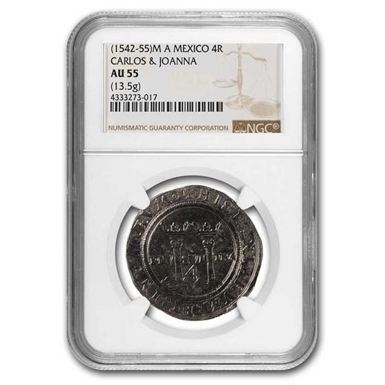 (1542-55) M A Mexico Silver 4 Reales Carlos & Joanna AU-55 NGC
