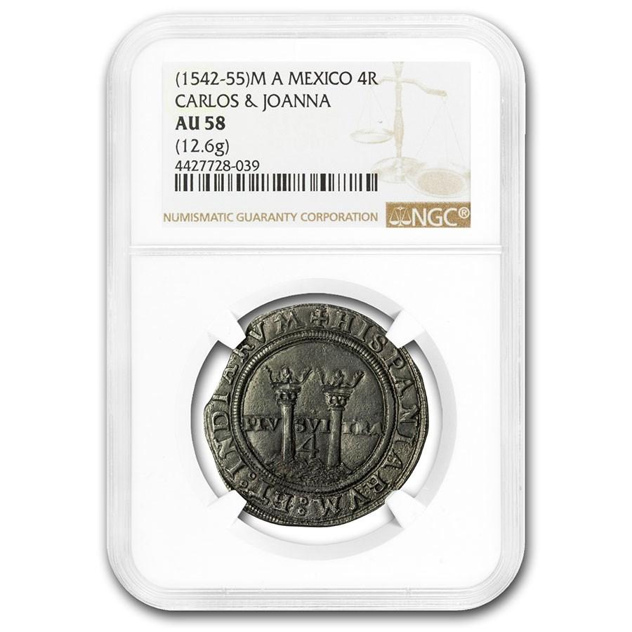 (1542-55) M A Mexico Silver 4 Reales Carlos & Joanna AU-58 NGC