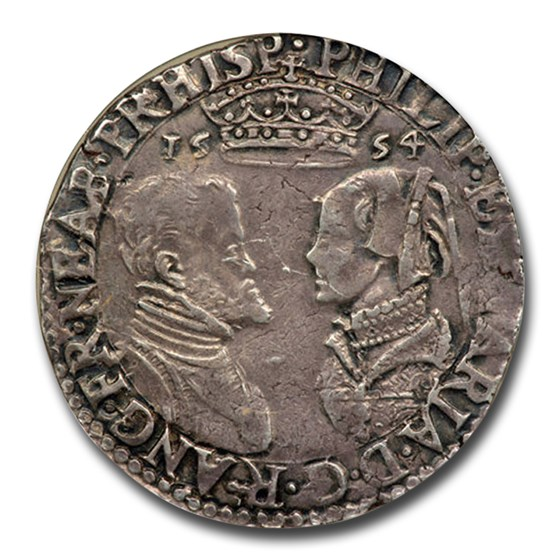 1554 England Silver Shilling Philip & Mary XF-40 NGC