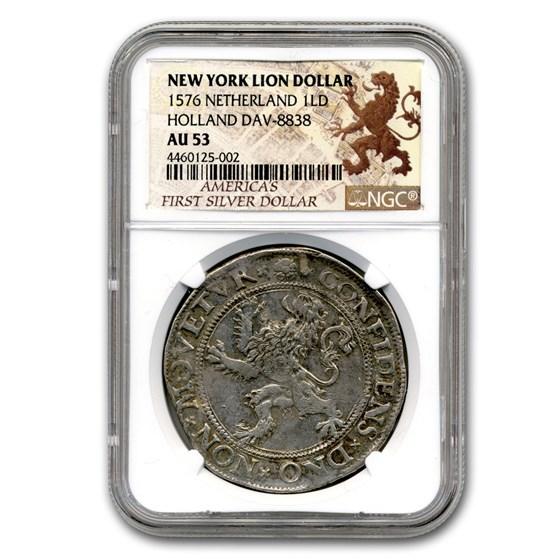 1576 Netherland Lion Dollar Holland Dav-8838 AU-53 NGC