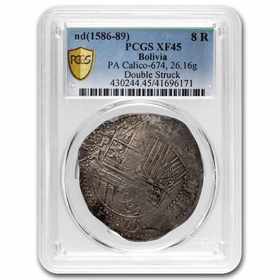 1586-89 Bolivia Silver 8 Reales Cob XF-45 PCGS (Double Struck)