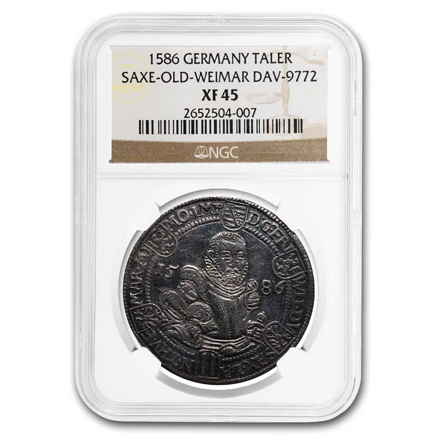 1586 German States Saxe-Old-Weimar Silver Taler XF-45 NGC