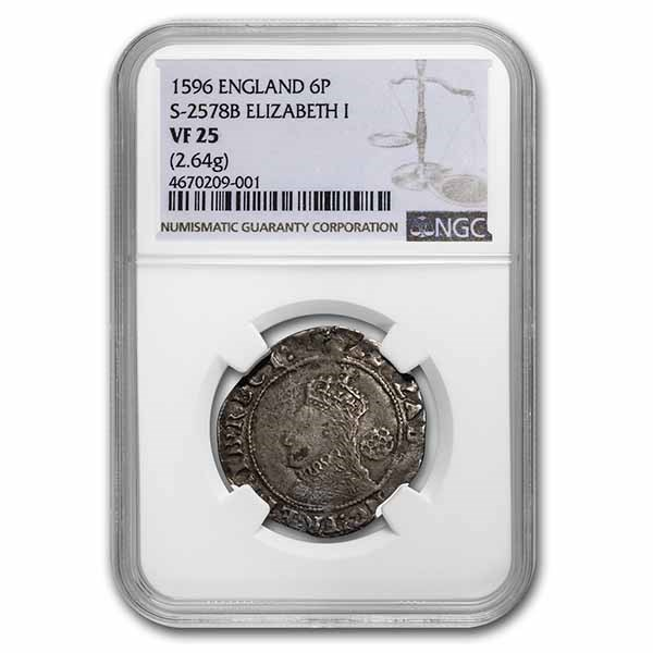 1596 Kingdom of England Silver Sixpence Elizabeth I VF-25 NGC