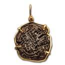 1598-1621 Bolivia AR 8 Reales (Atocha Shipwreck) 14 K Gold Bezel