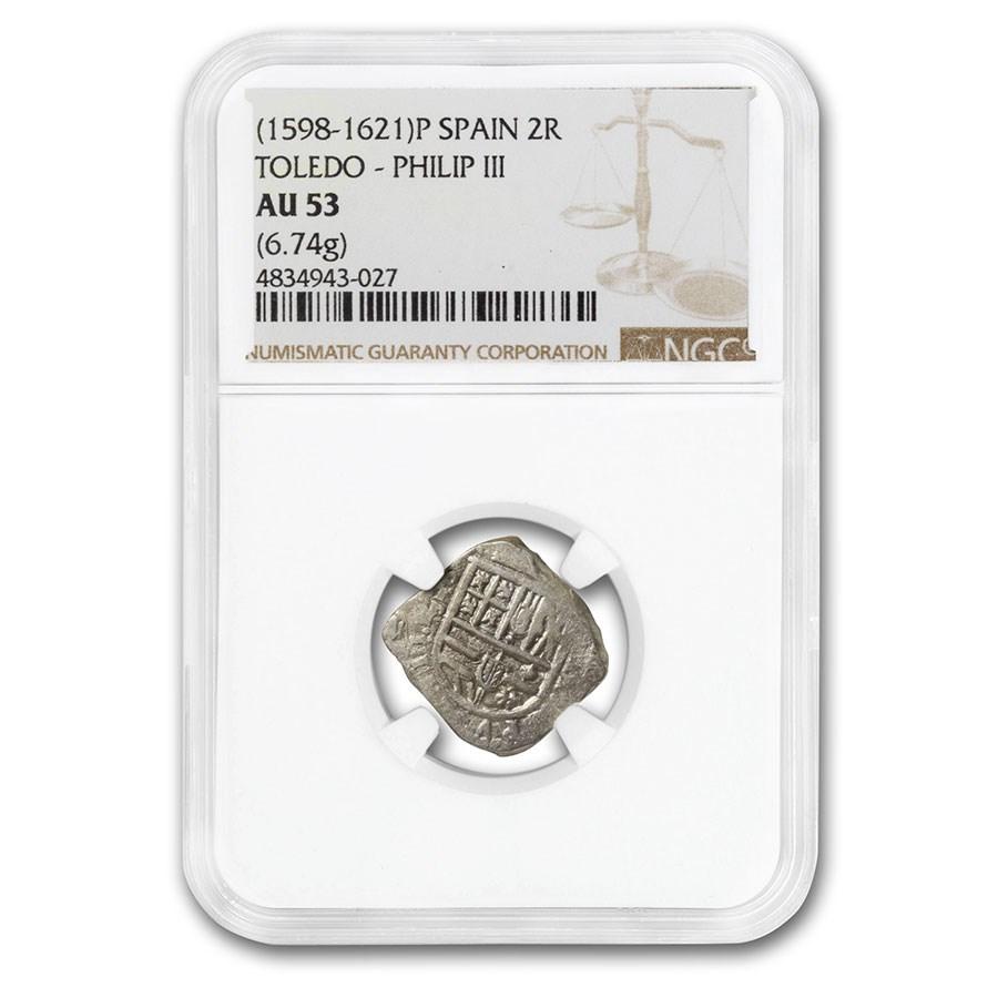 (1598-1621) Spain Toledo Silver 2 Reales Philip III AU-53 NGC