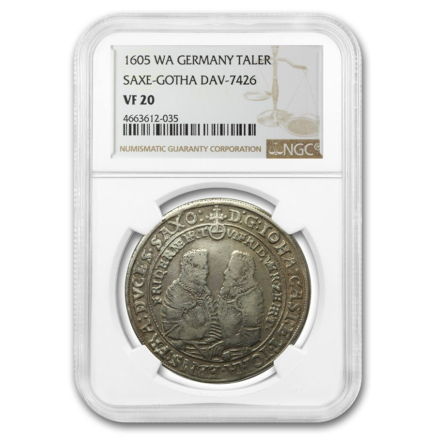 1605-WA German States Saxe-Gotha Silver Thaler VF-20 NGC