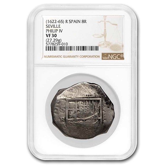 1622-1665 Spain Silver 8 Reales Philip IV VF-30 NGC