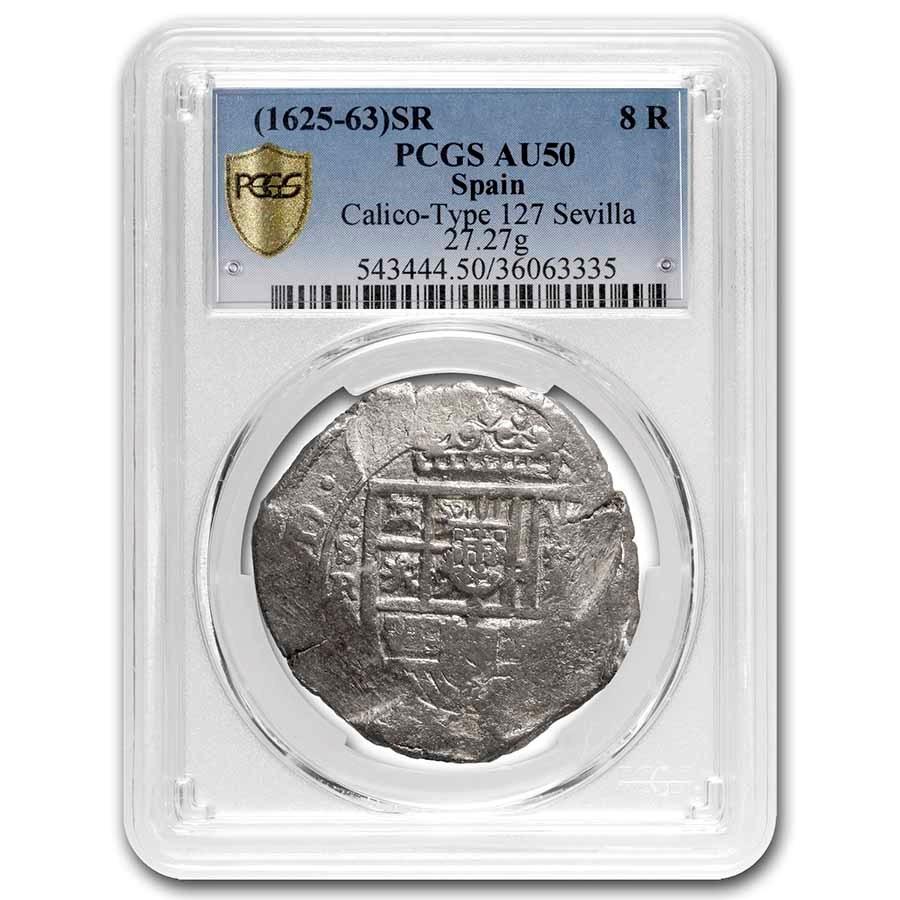 (1625-1663) Spain Sevilla 8 Reales Cob Philip IV AU-50 PCGS